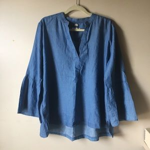 Ann Taylor Loft Softened Chambray Bell-Sleeve Top.